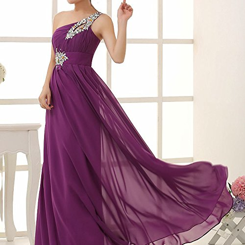 drasawee Abendkleid Brautjungfer Damen Lang Shoulder One Party Ball Kleid Chiffon Dunkelviolett tFtrfq8xw