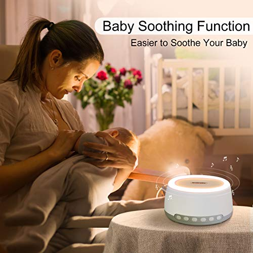 Portable White Noise Machine by Babelio, Rechargeable Travel Sound Machine for Sleeping Kids and Adults w/ 32 Relaxation Noise Filter Sound, Bluetooth, Night Light & Timer