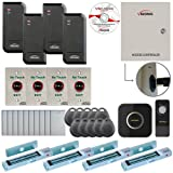 Visionis FPC-6203 Four Door Access Control TCP/IP RS-485 Wiegand for Outswing Door Electric 300lbs MagLock Controller Box, Power Supply, Black Indoor/Outdoor Card Reader, Software 10,000 Users Kit