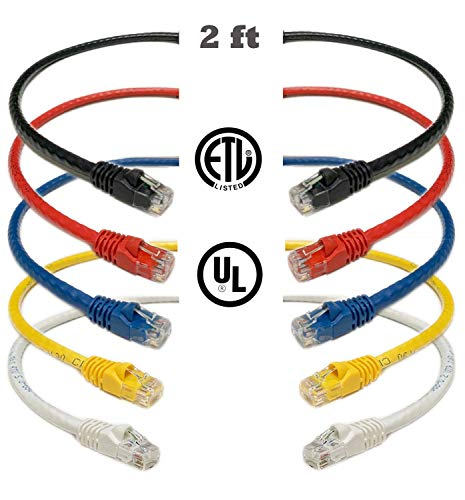 (iMBAPrice Mixed Colors - 2 feet RJ45 Cat6 Snagless Ethernet Patch Cable Multi Color (Red, Blue, Black, White, Yellow) - 5)