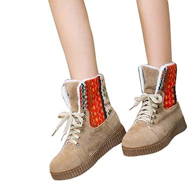 635d98b540e844 TianWlio Frauen Herbst Winter Stiefel Schuhe Stiefeletten Boots Stiefel  Damen Freizeit Schuhe Halbhose Schnürschuhe mit Kurzen Absatz und Warme  Kurze ...