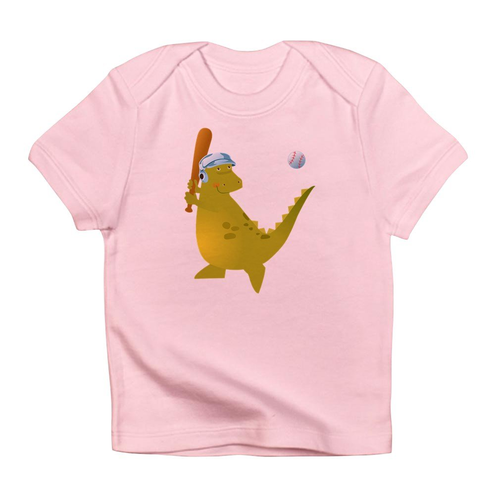 0 To 3 Months Truly Teague Infant T-Shirt Baseball Playing Dinosaur Petal Pink