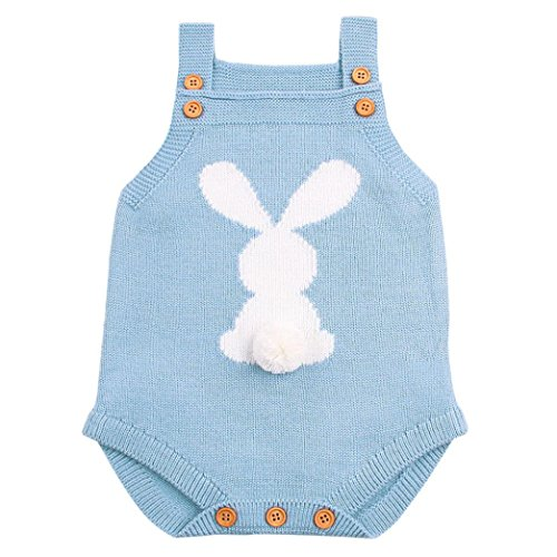 Connia Toddler Newborn Romper Outfits Baby Boys Girls Cartoon Rabbit Fur Ball Strap Buttons Jumpsuit Outfits (Light Blue, Size:18M)