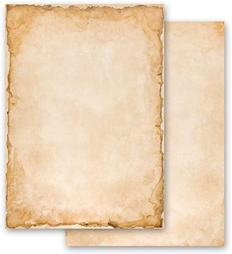 100-tlg 50 passende Briefumschl/äge DIN LANG mit Fenster Briefpapier Komplett-Set VINTAGE 50 Blatt Briefpapier