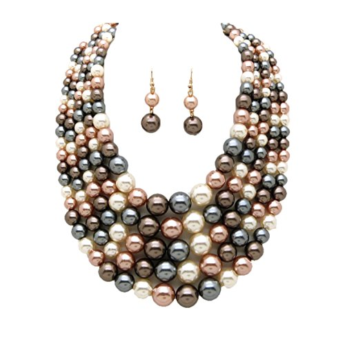Women's Simulated Faux Pearl Five Multi-Strand Statement Necklace and Earrings Set ()