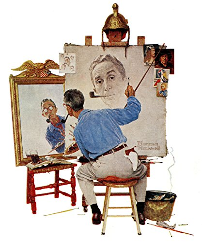 Marmont Hill Norman Rockwell Prints on Canvas Triple Self Portrait Art Print, 30 by 36