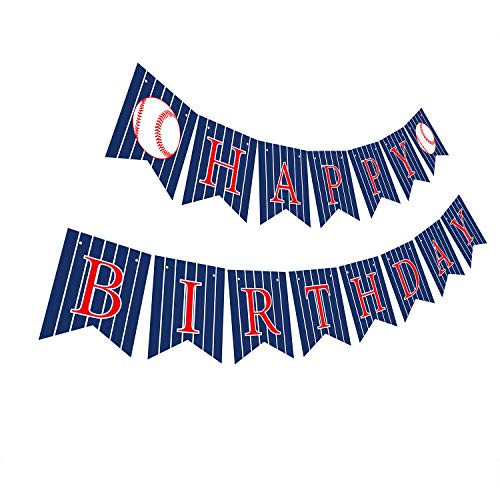 Gyzone Baseball Birthday Banner, Funny Pre-Strung Bday Sign Party -