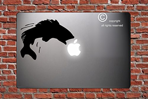 Bass Jumping Over Apple-macbook Decal Macbook Sticker Skin Laptop Cover for Apple Macbook Pro Mac 13 Inch-color-black Removable Vinyl Decal Sticker Skin Macbook Vinyl Decal Computer Sticker Decals Laptop Decals Macbook Stickers Macbook Decals Macbook Silhouette Decal Symbol