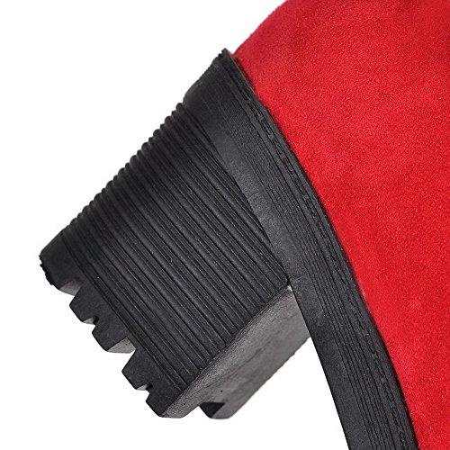 AllhqFashion Mujeres Sólido Tacón Medio Puntera Redonda Esmerilado Sin cordones Botas Rojo