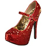 Pleaser Women's Teeze-07 Mary Jane Pump,Gold/Red,10 M US