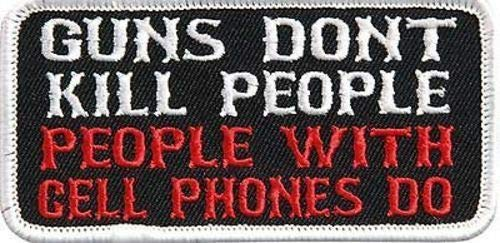 GUNS DONT KILL PEOPLE FUN NRA Embroidered Motorcycle Biker vest Patch PAT-3110
