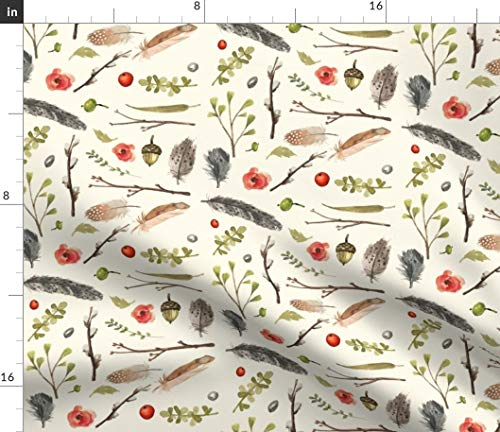 Fall Foliage Fabric - Florals Watercolor Woodland Nursery Decor Autumn Beige Berry Floral Flower Print on Fabric by The Yard - Sport Lycra for Swimwear Performance Leggings Apparel Fashion