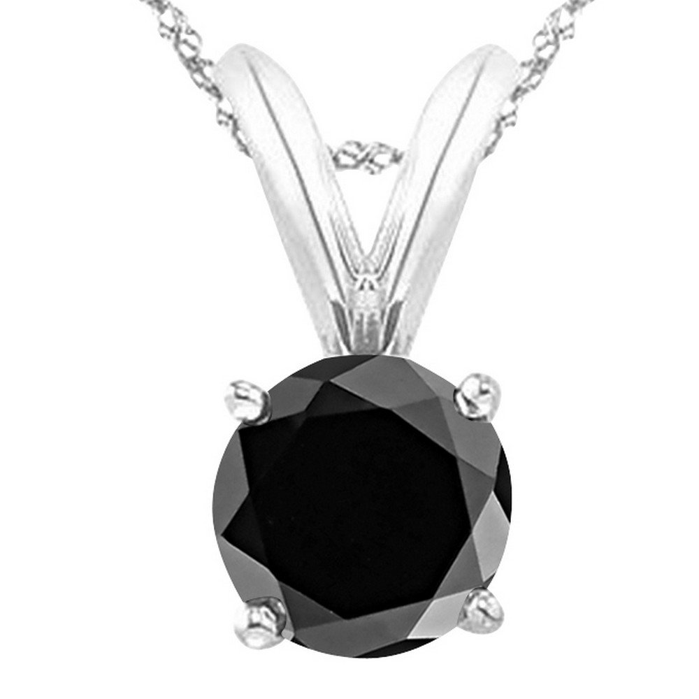 1 Carat 14K White Gold Round Black Diamond 4 Prong Solitaire Pendant Necklace (AAA Quality) W/ 16'' Gold Chain