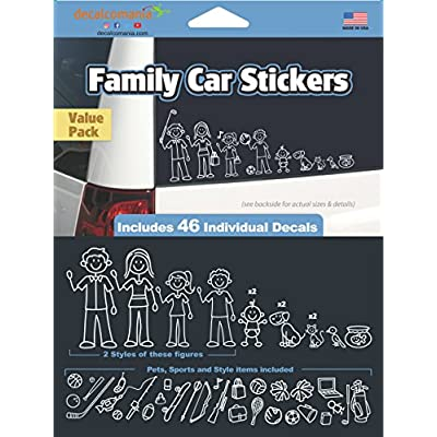 White Line Stick Family Stickers DIY Kit - Includes 46 Decals: Automotive