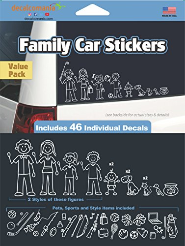 White Line Stick Family Stickers DIY Kit - Includes 46 Decals (Stick Figure Window Decals)