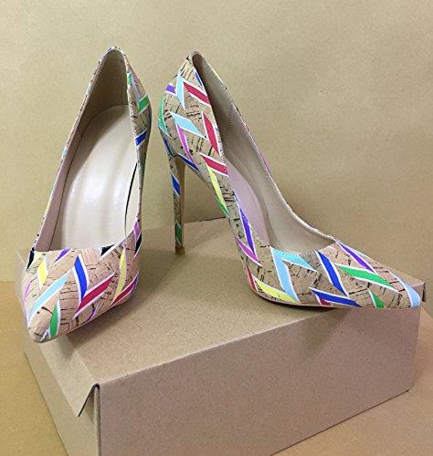 Talon Escarpins Taille Femmes Multicolore Chaussures Aiguille Stilettos Laçage Ubeauty Grande FqHSw4nx