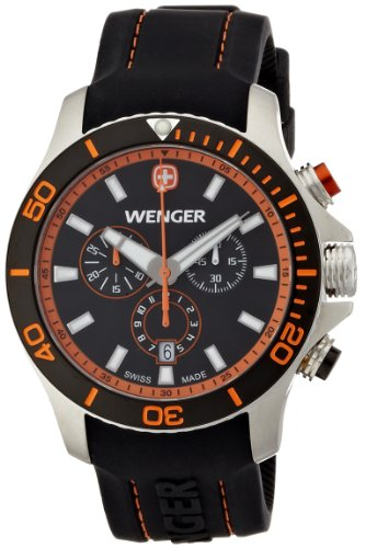 Wenger Sea Force Chrono Men's Quartz Watch with Black Dial Analogue Display and Black Silicone Strap 010643104