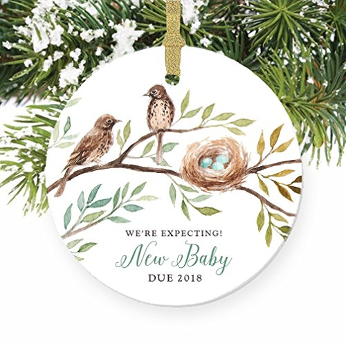 We're Expecting! Pregnancy Announcement Porcelain Ornament, Baby Bird New Baby Gift, 3