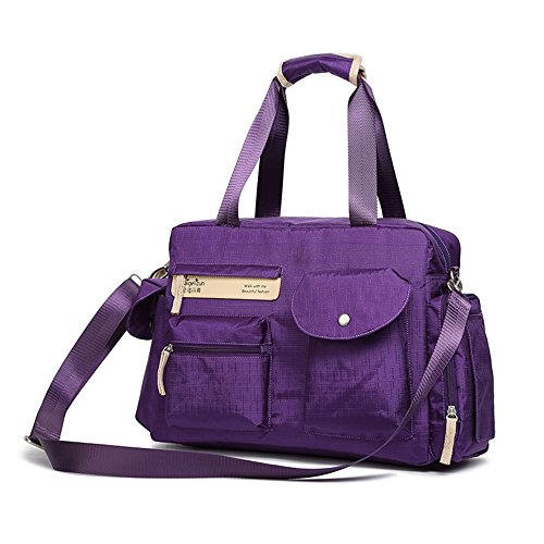 Bolso de la momia, bolso de hombro multi-funcional solo, paquete de las mujeres embarazadas de la capacidad grande, madre y niño fuera del paquete ( Color : Purple ) Purple