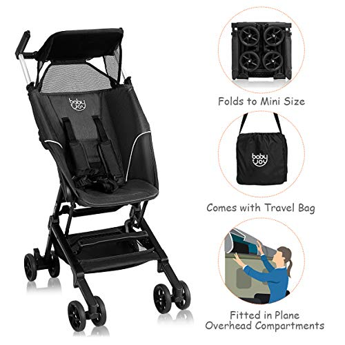 BABY JOY Lightweight Stroller, Pocket Folding Stroller with Aluminum Structure, Airplane Compartment Portable, Includes Travel Bag, No Assembly Needed (Black) reviews