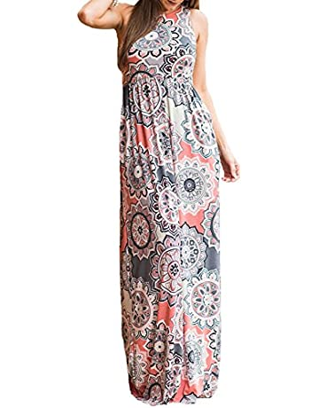 e558650474561 SWQZVT Women's Summer Bohemian Floral Dresses Sleeveless Pockets Racerback  Scoop Neck Casual Long Maxi Tank Dress