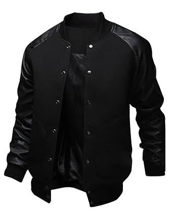 Sorrica Mens Fashion Splicing Leather Sleeve Baseball Varsity ...