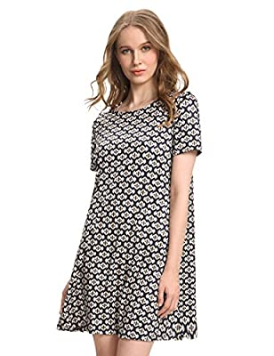 OEUVRE Women's Casual Tunic Plaid Geometric Print Jersey A-line Dress