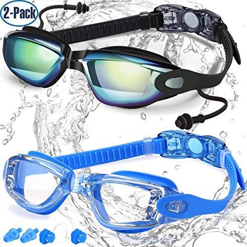 Swim Goggles, Pack of 2, Swimming Goggles for Adult Men Women Youth Kids Child, Triathlon Equipment, with Mirrored & Clear Anti-Fog, Waterproof, UV 400 Protection Lenses -