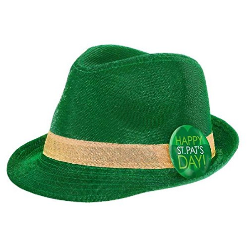 St. Patrick's Day Shimmer Fedora Hat Costume Party Head Wear Accessory (1 Piece), Green, 4 1/2
