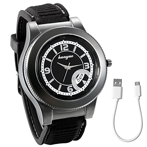 JewelryWe Novelty Quartz Wrist Watch with USB Electronic Rechargeable Windproof Cigarette Lighter for Men (Black) (E Smokes Electronic Cigarette)