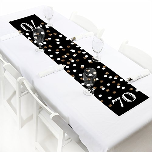 Big Dot of Happiness Adult 70th Birthday - Gold - Petite Birthday Party Paper Table Runner - 12 x 60 inches]()