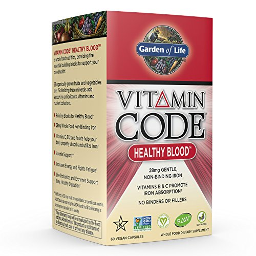Garden of Life Iron Supplement - Vitamin Code Healthy Blood Raw Whole Food Vitamin, Vegan, 60 Capsules (Iron Free 60 Capsules)