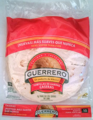 Guerrero Flour Tortilla S Casera S 9 5 Burrito Size Pack Of 5 Amazon Com Grocery Gourmet Food