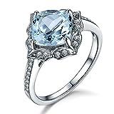Natural Aquamarine Engagement Ring,7mm Cushion Cut Blue Stone,14K White Gold,Vintage Floral Design