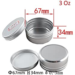 Healthcom 3 oz 15 Packs Round Aluminum Tin Cans Screw Top Metal Steel Tins Empty Slip Slide Round Containers Bulk Storage Organization for Lip Balm,Crafts,Cosmetic,Candles(90g)