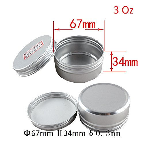 Healthcom 3 oz 15 Packs Round Aluminum Tin Cans Screw Top Metal Steel Tins Empty Slip Slide Round Containers Bulk Storage Organization for Lip Balm,Crafts,Cosmetic,Candles(90g) Lid Mint