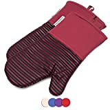 Silicone Oven Mitts 464 F Heat Resistant Potholders Striped Pattern Cooking Gloves Non-Slip Grip for Kitchen Oven BBQ Grill Cooking Baking 7x13 inch as Christmas Gift 1 pair (Red) by LA Sweet Home