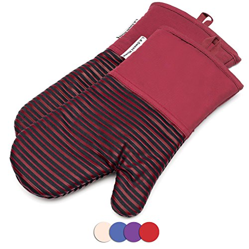Silicone Oven Mitts 464 F Heat Resistant Potholders Striped Pattern Cooking Gloves Non-Slip Grip for Kitchen Oven BBQ Grill Cooking Baking 7x13 inch as Christmas Gift 1 pair (Red) by LA Sweet Home by LA Sweet Home