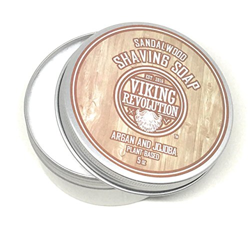 Price comparison product image BEST DEAL Shaving Soap Sandalwood Scented with Argan Oil 5oz - Luxury Shave Soap for Wet Shave - Rich Lather Superior Mens Shaving Soap by Viking Revolution