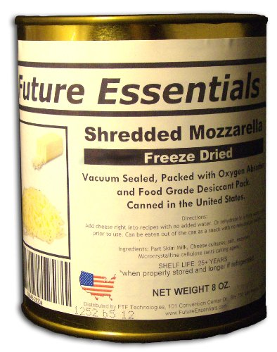 12 Cans of Freeze Dried REAL Mozzarella Shredded Cheese Survival Food- 6Lbs of cheese