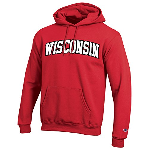 sin Badgers Men's Eco Powerblend Hooded Sweat Shirt, Large, Scarlet ()