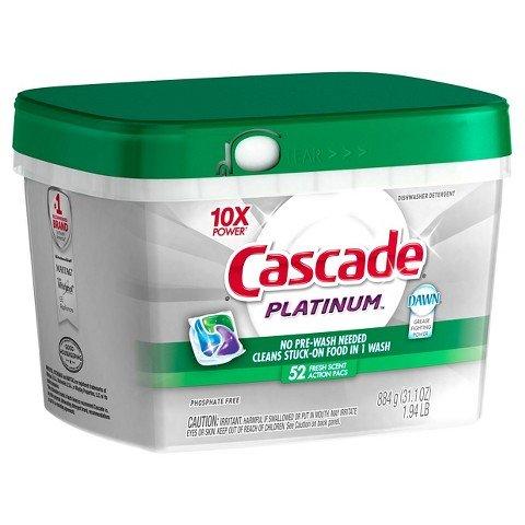 Cascade® Platinum™ ActionPacs™ Fresh Scent Dishwasher Detergent 52 Ct