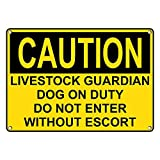 Weatherproof Plastic OSHA CAUTION Livestock Guardian Dog On Duty Do Not Enter Sign with English Text