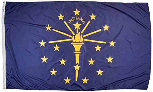 Annin Flagmakers Model 141680 Indiana State Flag Nylon SolarGuard NYL-Glo, 5x8 ft, 100% Made in USA to Official Design Specifications