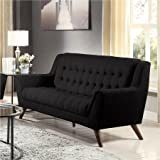 Coaster Baby Natalia Retro Mid-Century Modern Sofa, The legs come in beautiful cappuccino, solid eucalyptus wood