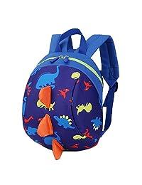 myonly Kids Toddler 3D Cartoon Dinosaur Backpack, Preschool Cute Bag Anti-Lost bagpack with Safety Leash (Dark Blue)