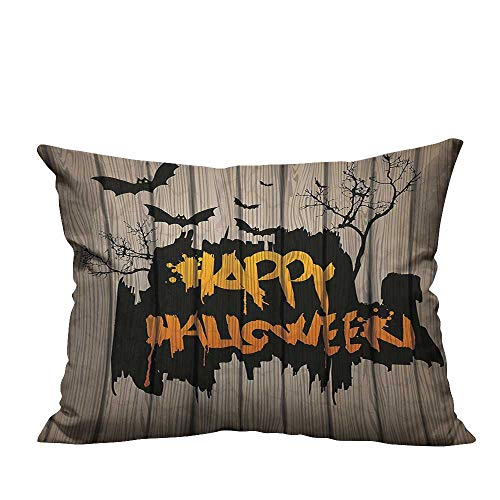 YouXianHome Super Soft Pillowcase Happy Halloween Graffiti Style Lettering on Rustic Wooden Fence Scary Evil Effect Art Resists Wrinkles(Double-Sided Printing) 19.5x60 -