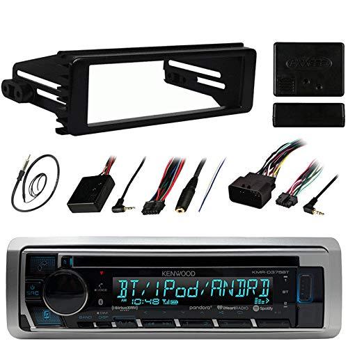 "Kenwood Stereo Receiver CD MP3 Player - Bundle Combo w/Metra DIN Dash Installation Kit + Handle Bar Control Module + Enrock 22"" AM/FM Radio Antenna for"
