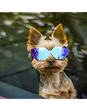 Enjoying Small Dog Sunglasses - Dog Goggles for UV Protection Snow-Proof Windproof Goggles with Flexible Straps for Puppy Cat - Blue