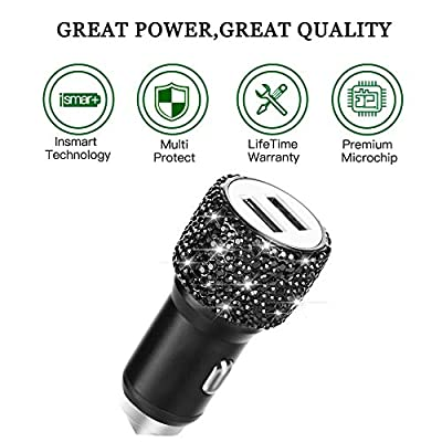 Dual USB Car Charger,SAVORI Car Adapter Bling Bling Rhinestones Crystal Car Decorations for Fast Charging Car Decors for iPhone Xs Max X Plus, iPad Pro/Mini, Samsung (Bling Black): Home Audio & Theater